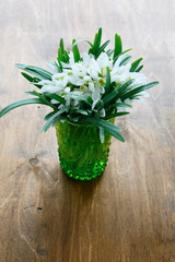 bouquet of snowdrops in a glass