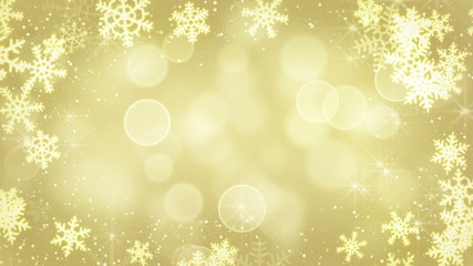golden snowflakes and blinking stars loopable background