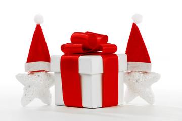 Gift box with santa claus stars