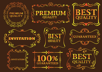 Colorful Calligraphic Signs and Frames on Brown Background