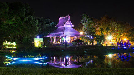 pavilion at night In Suan Luang Rama 9 Of Thailand