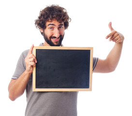 young crazy man with a blackboard