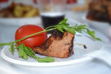 grilled meat, vegetables