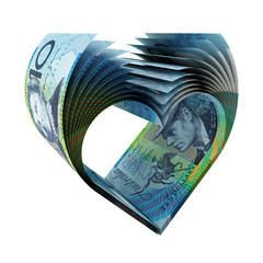 10 Australian Dollars Bills in a Shape of Heart