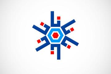 circular line geometry abstract logo vector