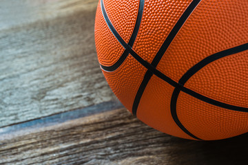 Closeup of Basketball on the Court Floor