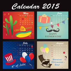 Holiday Calendar of 2015:May, June, July, August