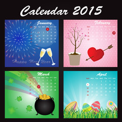 Holiday Calendar of 2015: January, February, March, April
