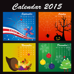 Holiday Calendar of 2015: September, October, November, December