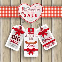 Heart Valentinsday Price Stickers Wood