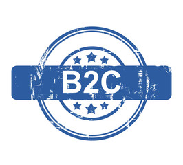 B2C business concept stamp