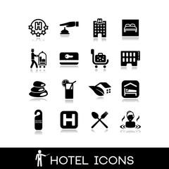 Hotel icons set 8
