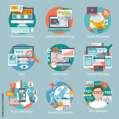 Seo Internet Marketing Flat Icon - 74361085