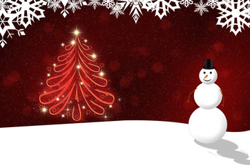 christmas background with a snowman