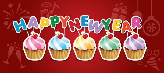 happy new year cupcake card