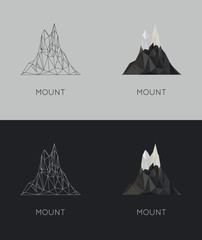 vector low-poly mount. poster and logo design