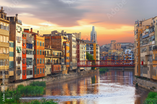 Sunset in Old Girona town,  view on river Onyar - 74361877