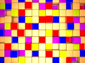 3d colorful abstraction cubes wall background