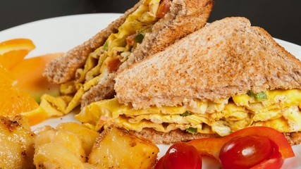 Omelette Sandwich in Whole Wheat Toast
