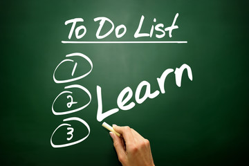 Hand drawn Learn in To Do List, business concept on blackboard