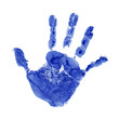 Conceptual children blue painted hand print isolated