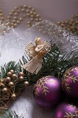 Angel with Christmas wreath and Christmas Balls