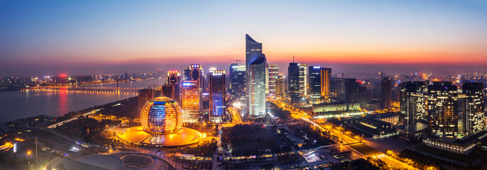 panoramic cityscape of hangzhou at night
