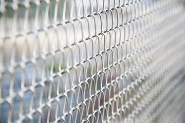 wire mesh fence with selective focus