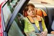 baby girl sleeps in car