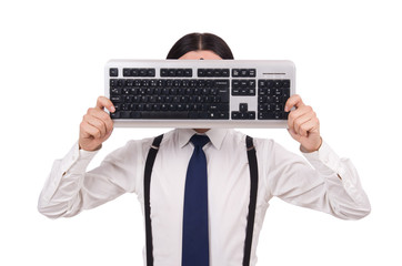 Young funny businessman with keyboard isolated on white
