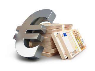 euro sign stacks of dollars