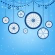 Christmas card with stylized Christmas balls - 74365244