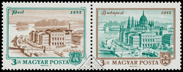 Stamp printed in Hungary shows View of Budapest