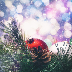 Abstract seasonal backgrounds with christmas decorations and bea