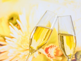 champagne flutes wedding flowers background