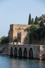 Wall of the old fortress in Alanya . Anatalaya, Turkey