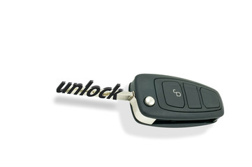 Automatic car keys against white background