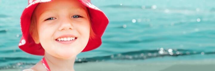 child girl fun sea beach summer vacation panorama banner