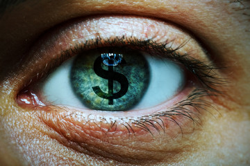 Man with a dollar symbol in his eye