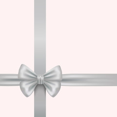 white bow with ribbons