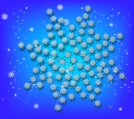 light blue abstract snowflake on dark background