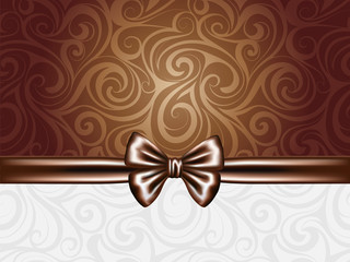 Abstract chocolate background with bow and ribbons