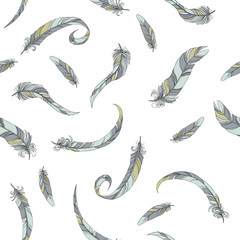 thin feathers seamless vector pattern