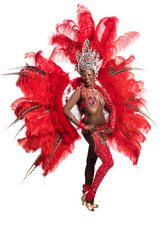 One woman samba dancer on white background
