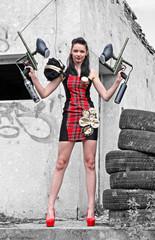 Girl with paintball guns