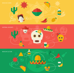 Mexico flat banner set