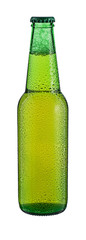 Bottle of beer with drops isolated on white background.