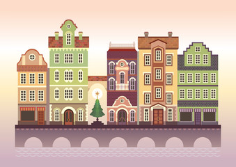 town street, colorful assorted houses, flat illustration