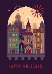 happy holidays greeting card, night city flat illustration