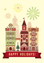 happy holidays greeting card, Christmas town flat illustration